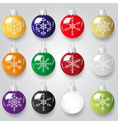 Shiny christmas decoration with snowflake color vector