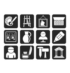 Silhouette Fine art objects icons vector
