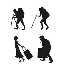 Silhouette pictograms of people on the rest vector