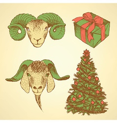 Sketch New Year ram and present vector image