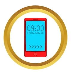 Smartphone with clock on display icon vector