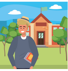 Student using holding book on campus background vector