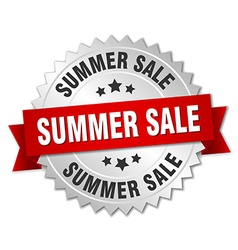 summer sale 3d silver badge with red ribbon vector image