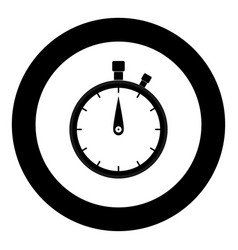 the stopwatch the black color icon in circle or vector image