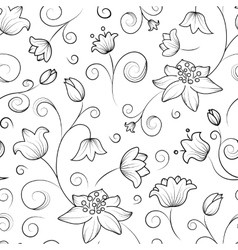 Tulip and lily flowers seamless pattern vector image