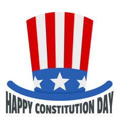 Usa hat constitution day logo icon flat style vector