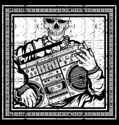 Vintage skull rapper carries a boombox hand vector