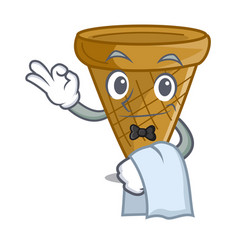 Waiter empty wafer cone for ice cream character vector