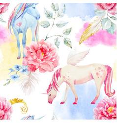 Watercolor unicorn and pegasus pattern vector
