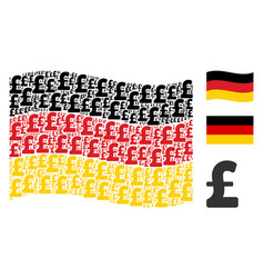 waving germany flag mosaic of pound sterling items vector image