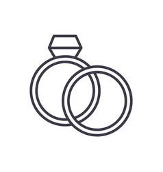 wedding rings with diamond line icon sign vector image