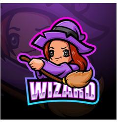 wizard girl esport mascot logo design vector image
