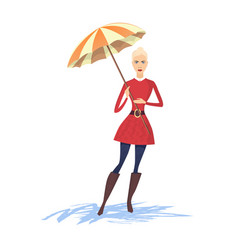 Woman with umbrella vector