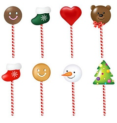 Xmas Color Lollypops Set vector image