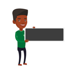 young african-american man holding blank board vector image