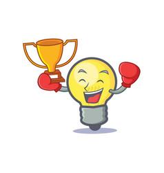 boxing light bulb character cartoon winner vector image vector image