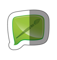 color sticker with brush icon in square speech vector image vector image
