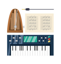electric keyboard with music sheets concept music vector image vector image