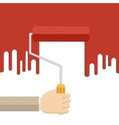 Hand with red roller vector image