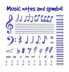 Handwritten musical notes vector image vector image