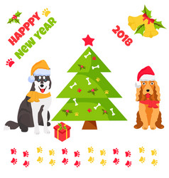 holiday husky and spaniel new year background vector image vector image