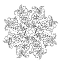 Mendie Mandala with flowers and leaves For vector image vector image