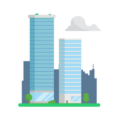 city skyscrapers on urban background flat design vector image