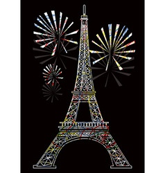 colorful eiffel tower vector image