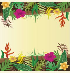 flower and leaves with copy space background vector image vector image