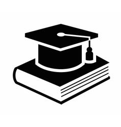 graduation cap and book icon vector image vector image