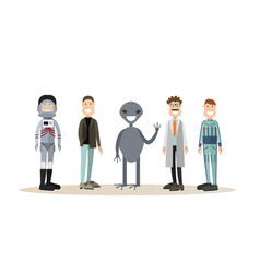 space people flat icon set vector image vector image