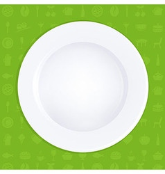 White Plate On Green Background vector image vector image