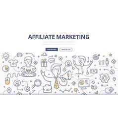 Affiliate marketing doodle concept vector