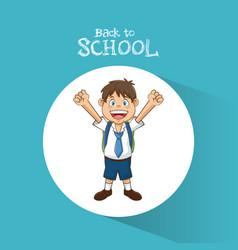 back to school student boy happy bag tie and short vector image