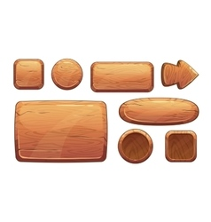 Cartoon wooden game assets vector image vector image