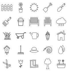 Gardening line icons on white background vector image