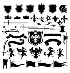 Heraldic set black vector image