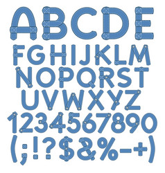 letters numbers and signs of denim vector image