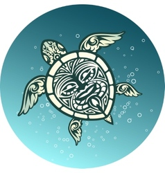 Swimming sea turtle with Polynesian tribal pattern vector image vector image
