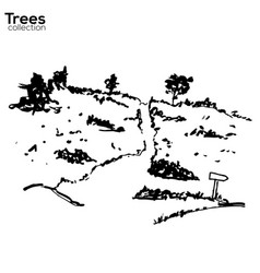 trees collection ink landscape with trees vector image vector image