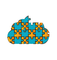 Cloud puzzle pieces image vector