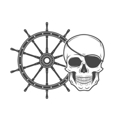 Jolly Roger with eyepatch logo template Evil vector image vector image