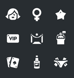 Set of woman club icons vector