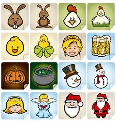 Sticker Set holidays vector image vector image