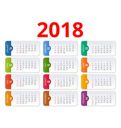 2018 calendar print template week starts sunday vector image