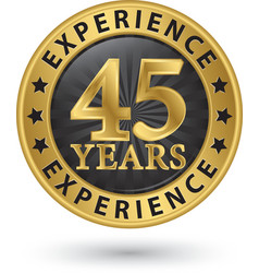 45 years experience gold label vector