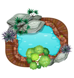 A pond aerial view vector