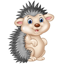 Adorable baby hedgehog sitting isolated vector
