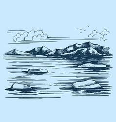 Antarctic continent sketch vector