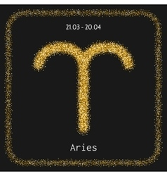 Aries golden zodiac sign icon for horoscopes vector image
